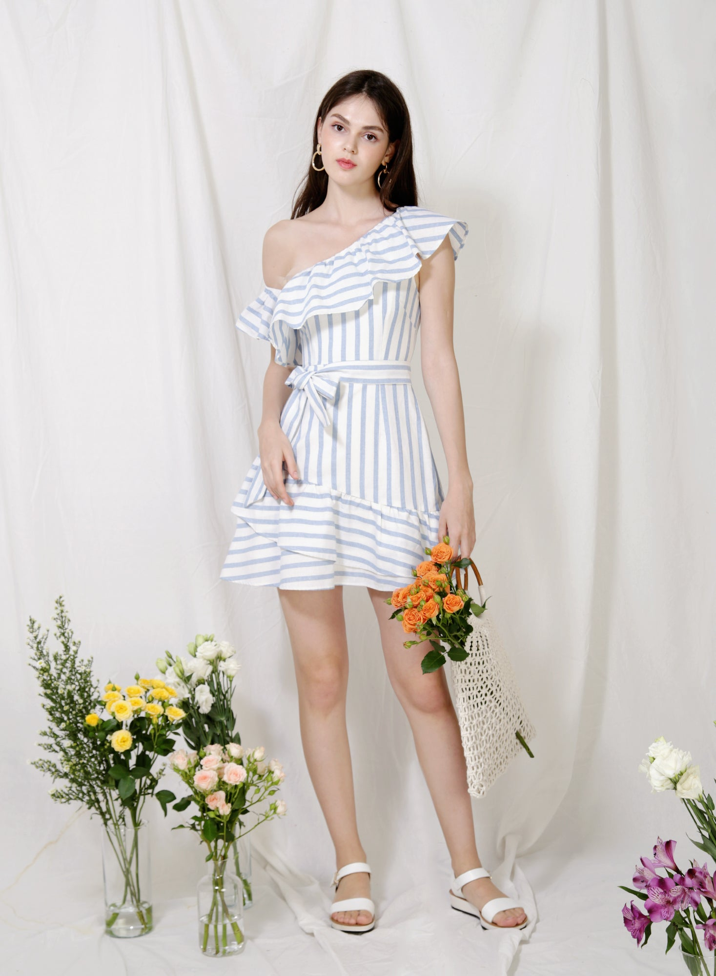 Purpose One Shoulder Striped Dress (Sky) at $ 44.50 only sold at And Well Dressed Online Fashion Store Singapore