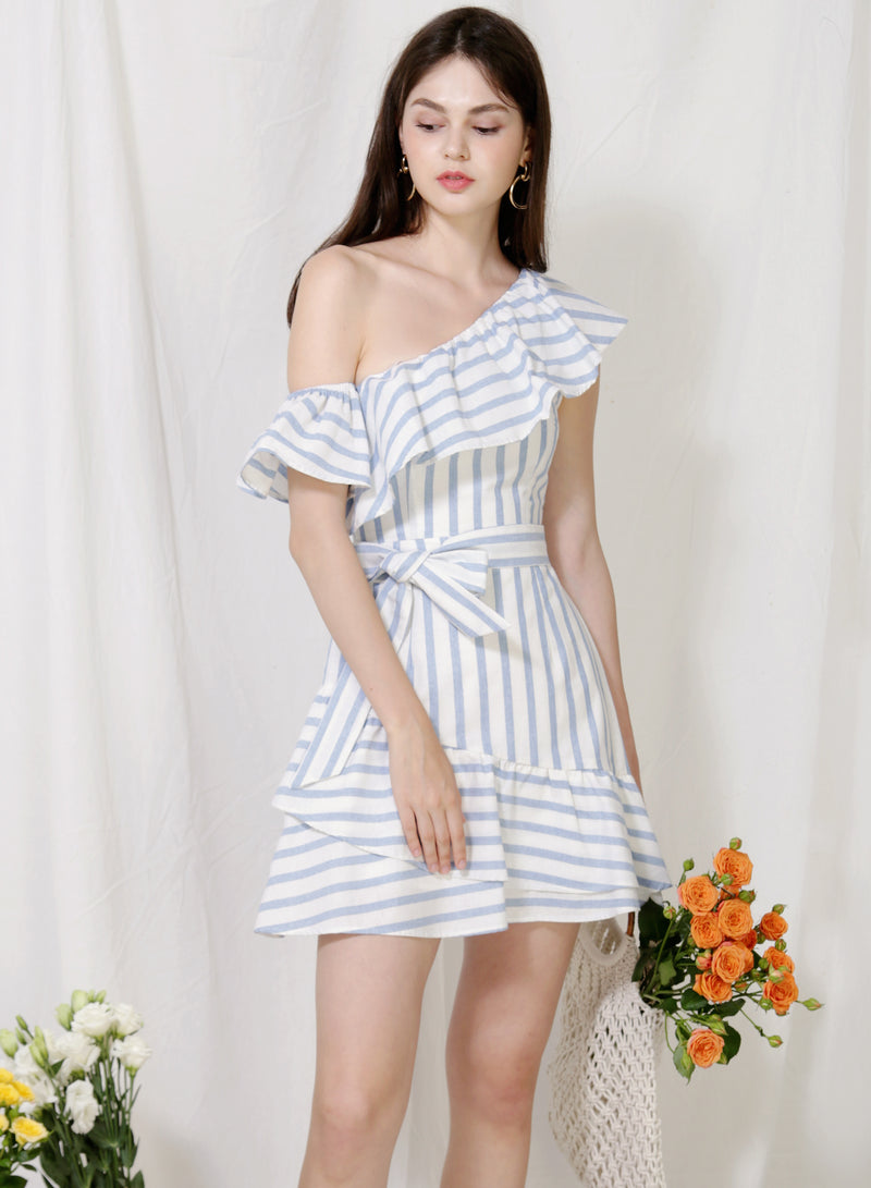 Purpose One Shoulder Striped Dress (Sky)