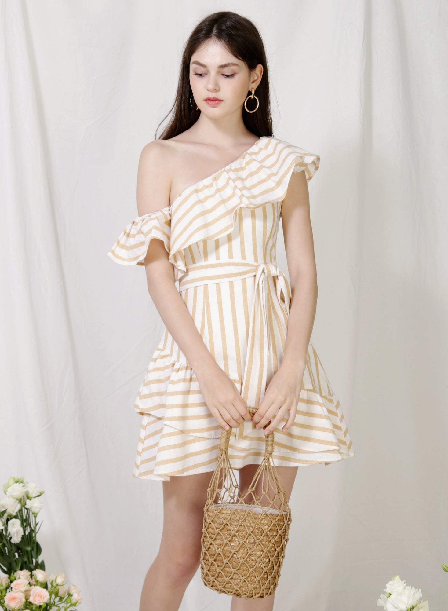 Purpose One Shoulder Striped Dress (Oat)