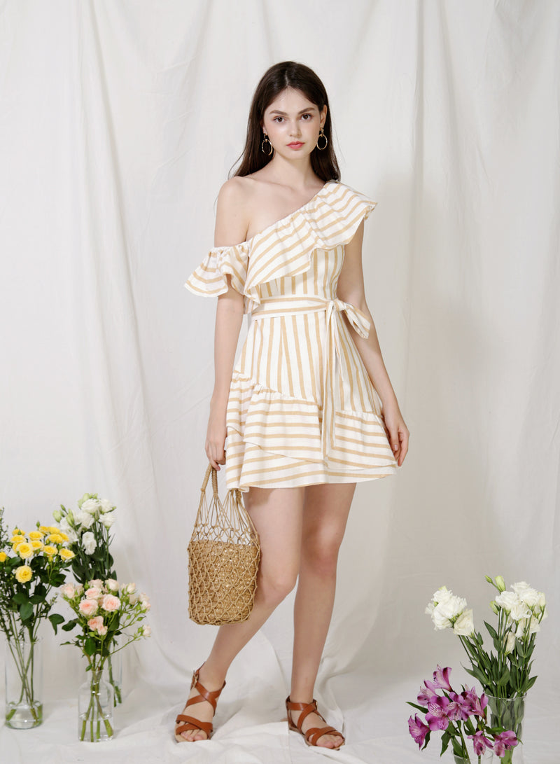 Purpose One Shoulder Striped Dress (Oat) at $ 44.50 only sold at And Well Dressed Online Fashion Store Singapore