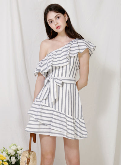 Purpose One Shoulder Striped Dress (Navy)