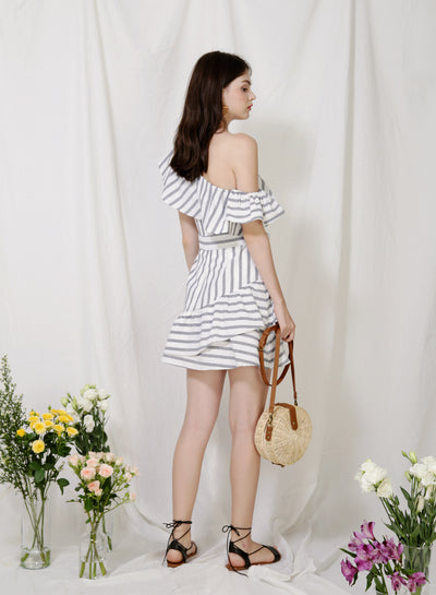 Purpose One Shoulder Striped Dress (Navy) at $ 44.50 only sold at And Well Dressed Online Fashion Store Singapore