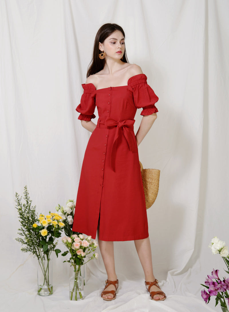 Explorer Button Down Midi Dress (Rust) at $ 46.00 only sold at And Well Dressed Online Fashion Store Singapore