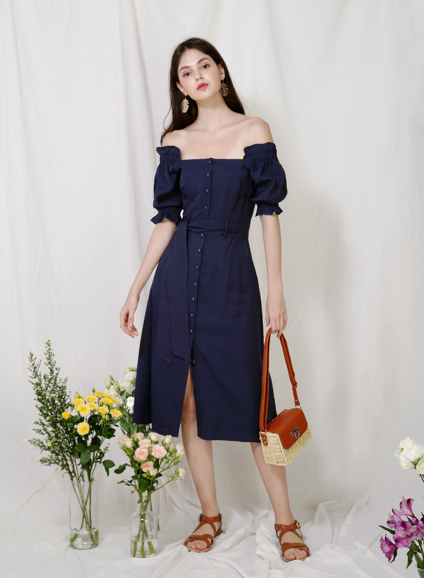 Explorer Button Down Midi Dress (Navy)