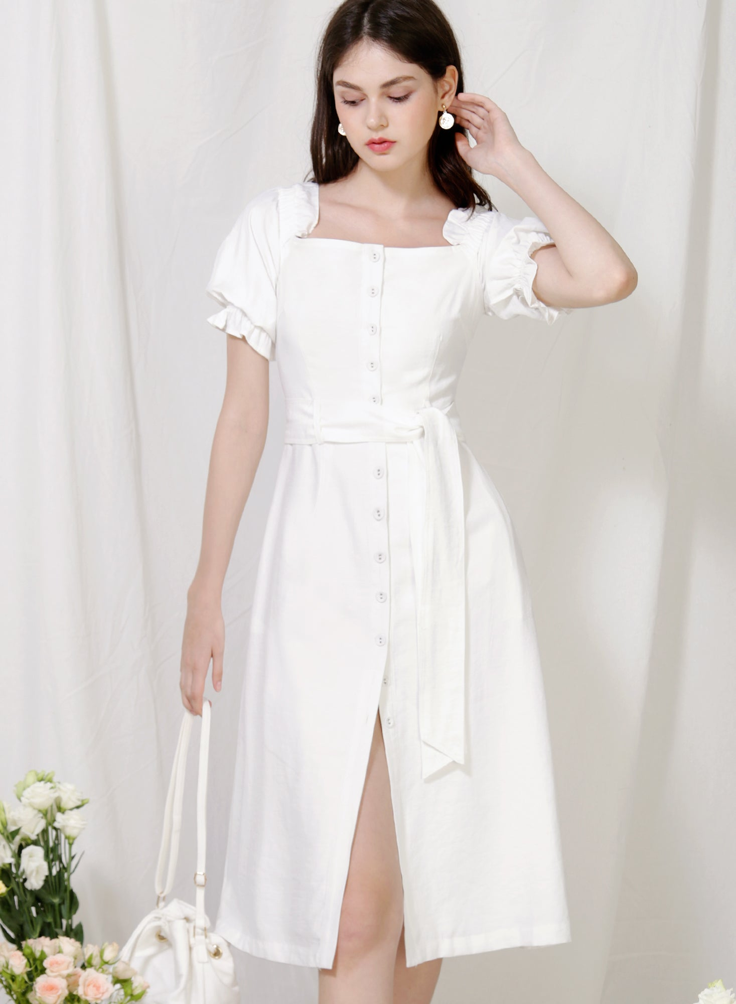 Explorer Button Down Midi Dress (White)