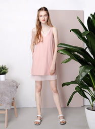 REPOSE Chiffon Insert Slip Dress (Dusk Pink) at $22.50 only sold at And Well Dressed Online Fashion Store Singapore