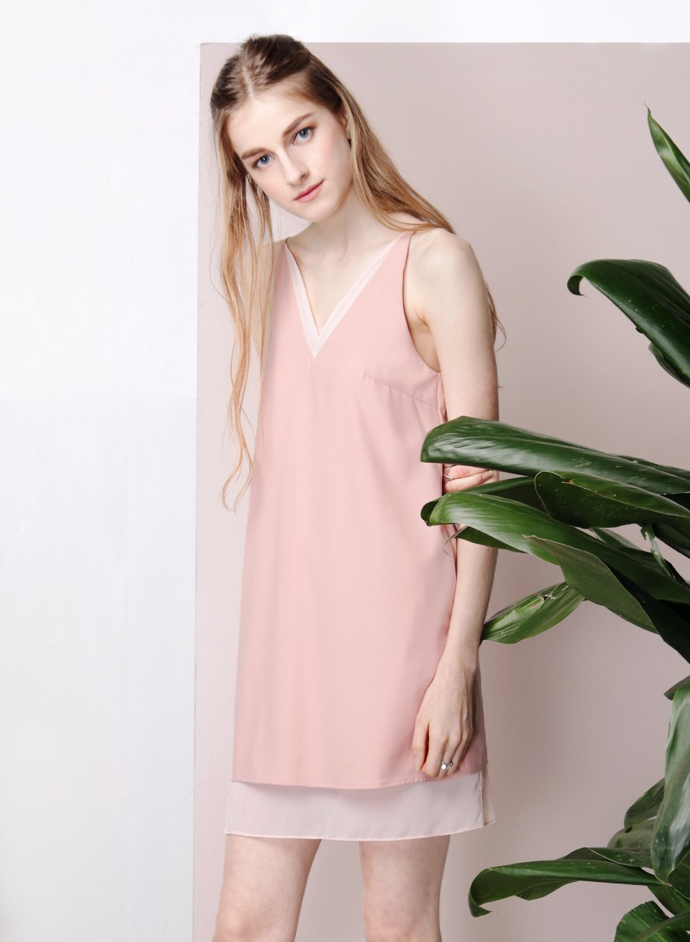 REPOSE Chiffon Insert Slip Dress (Dusk Pink) at $ 22.50 only sold at And Well Dressed Online Fashion Store Singapore