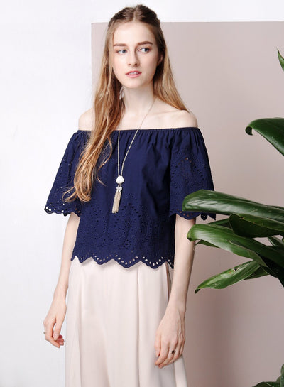 FIESTA Off Shoulder Eyelet Top (Navy) at $ 21.50 only sold at And Well Dressed Online Fashion Store Singapore