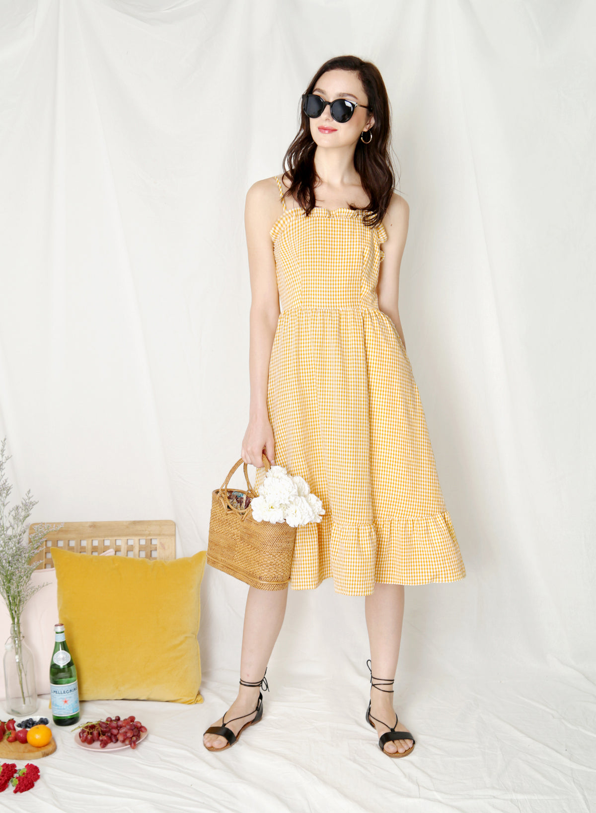 Harmony Ribbon Tie Back Dress (Yellow Gingham) at $ 43.50 only sold at And Well Dressed Online Fashion Store Singapore