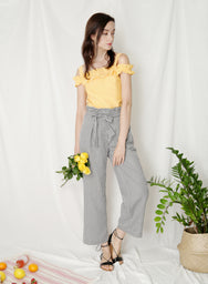 Lucent Ruffle Cold Shoulder Top (Canary) at $ 35.00 only sold at And Well Dressed Online Fashion Store Singapore