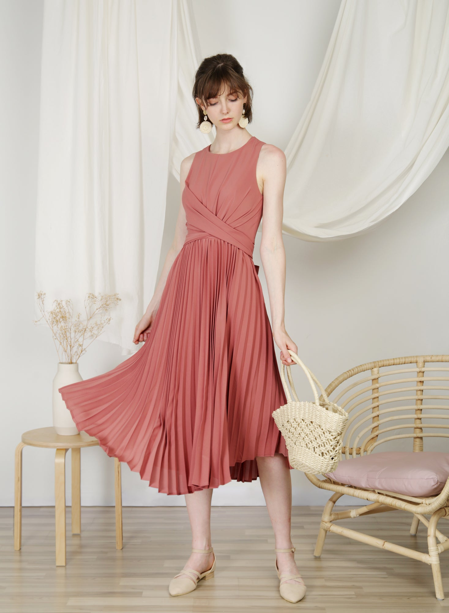 DIVINE Wrap Front Pleated Dress (Rose) at $ 48.50 only sold at And Well Dressed Online Fashion Store Singapore