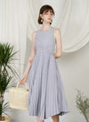 DIVINE Wrap Front Pleated Dress (Lilac Grey) at $ 48.50 only sold at And Well Dressed Online Fashion Store Singapore