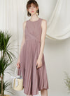 DIVINE Wrap Front Pleated Dress (Dove Purple)