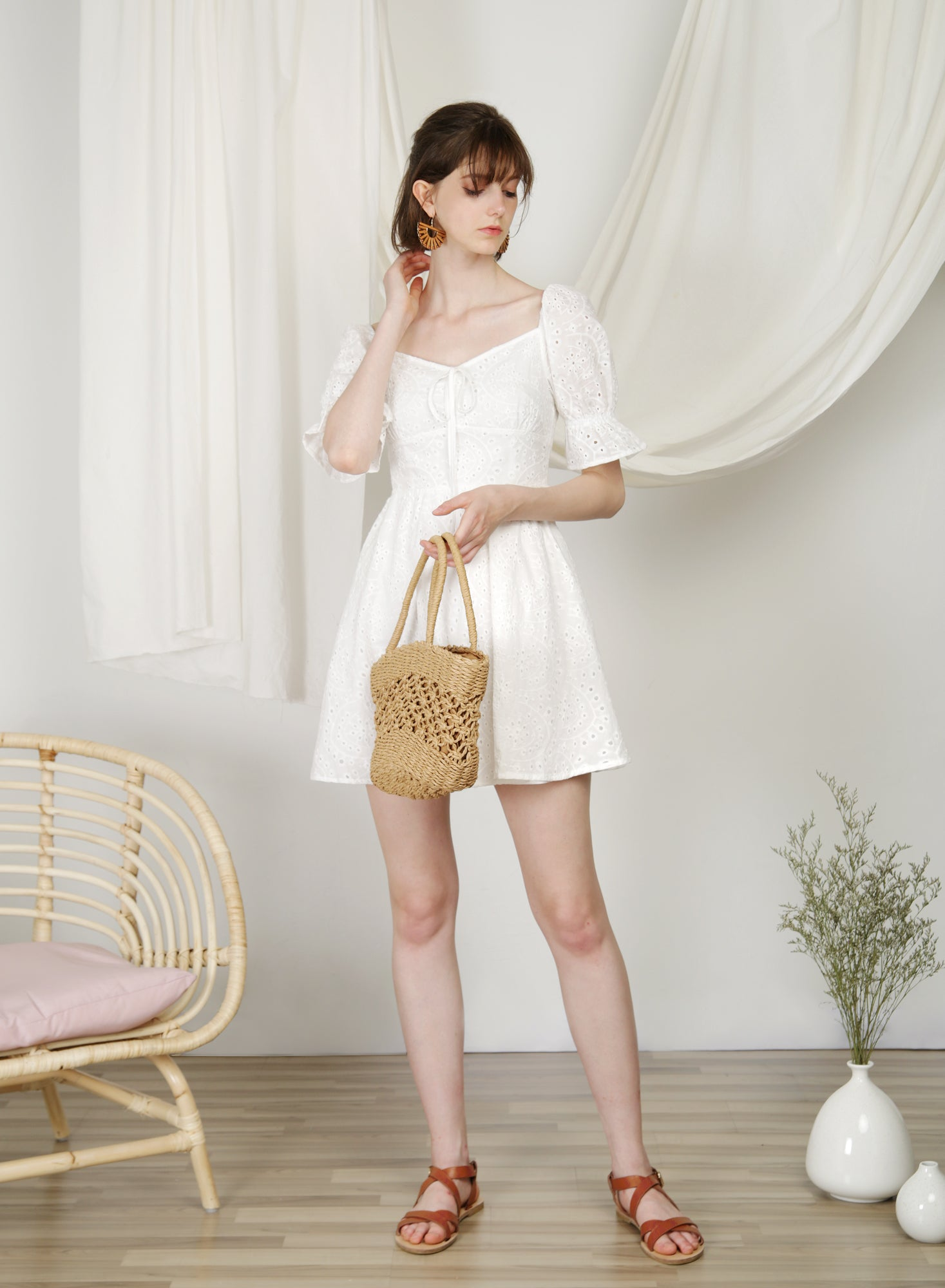 Cabin Puff Sleeves Dress (Eyelet) at $ 45.00 only sold at And Well Dressed Online Fashion Store Singapore