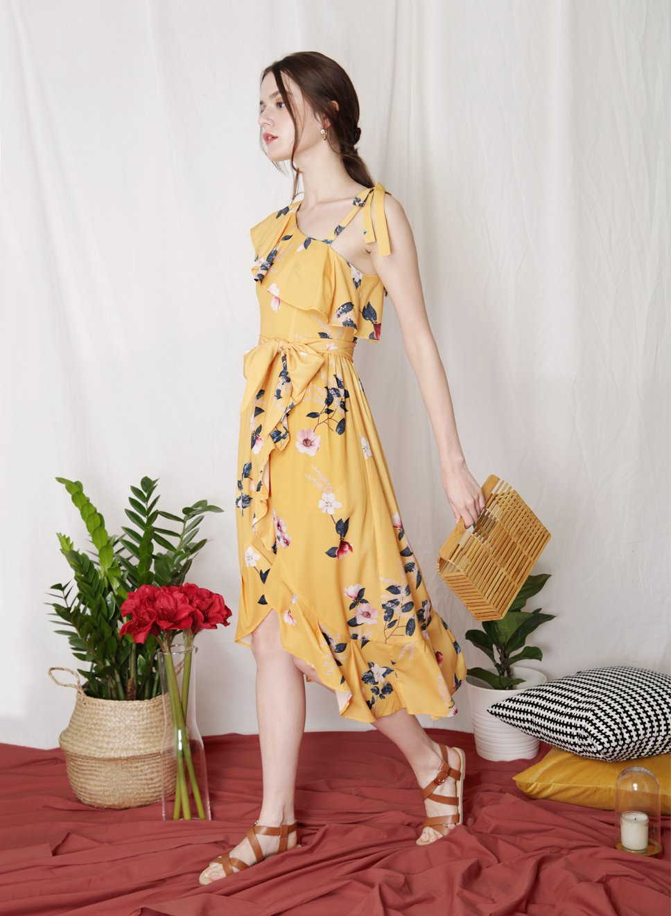 Backorder: BESPOKE Ruffled Floral Maxi Dress (Marigold) - And Well Dressed