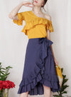 CHERISH Pleated Ruffle Skirt (Navy) at $ 36.50 only sold at And Well Dressed Online Fashion Store Singapore