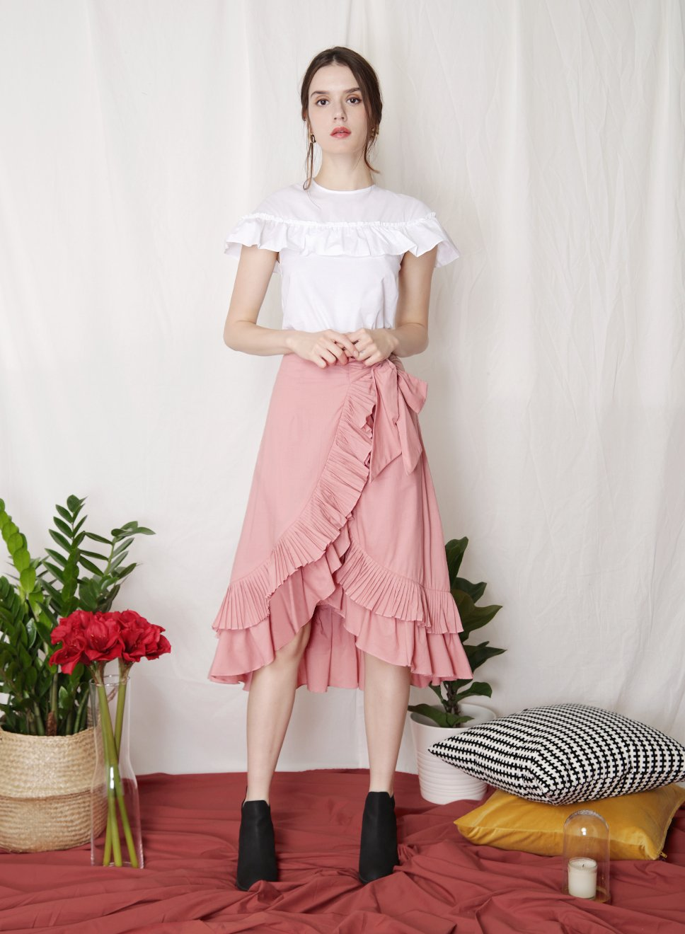 CHERISH Pleated Ruffle Skirt (Rose) - And Well Dressed