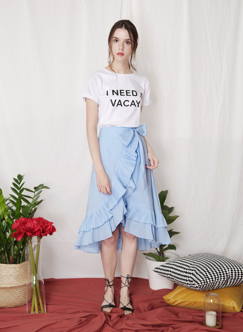 CHERISH Pleated Ruffle Skirt (Sky) at $ 36.50 only sold at And Well Dressed Online Fashion Store Singapore