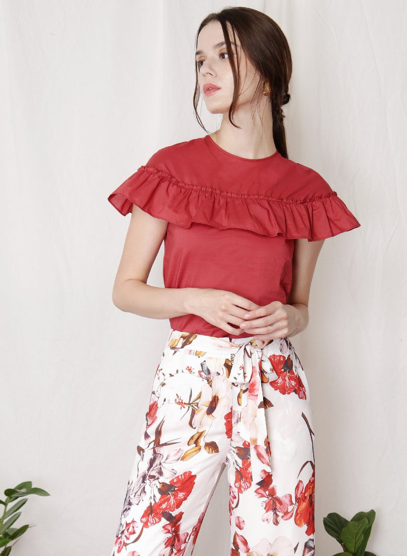 FLUTTER Ruffle Detail Top (Brick) at $ 21.50 only sold at And Well Dressed Online Fashion Store Singapore