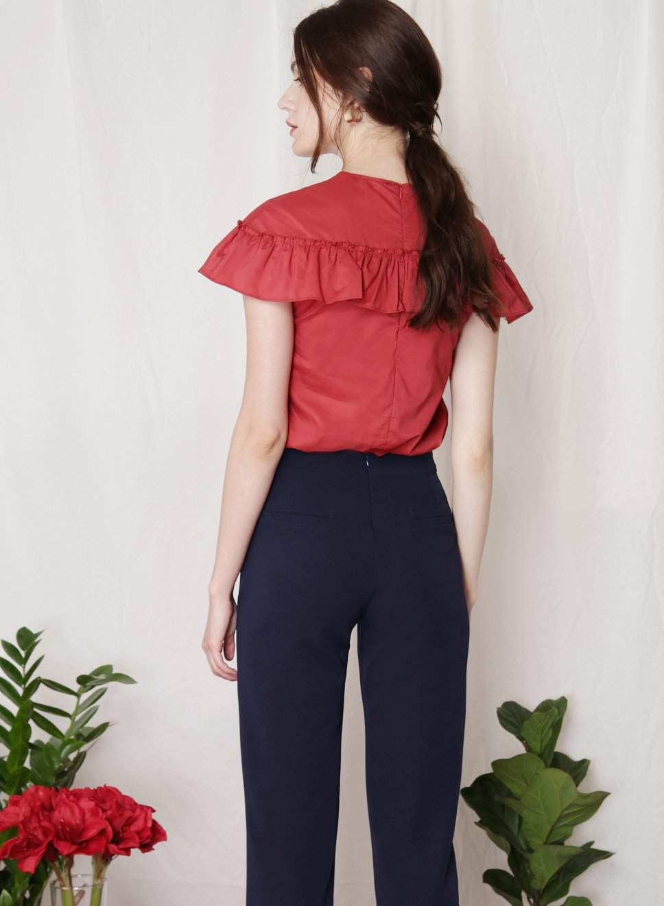 FLUTTER Ruffle Detail Top (Brick) at $ 33.50 only sold at And Well Dressed Online Fashion Store Singapore
