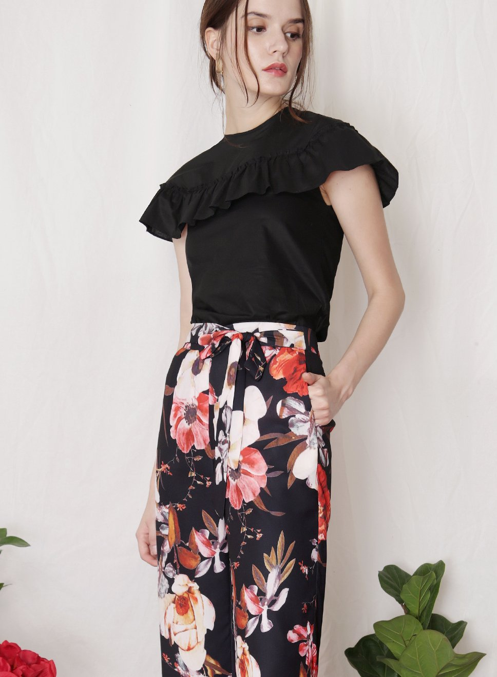 FLUTTER Ruffle Detail Top (Black) at $ 20.10 only sold at And Well Dressed Online Fashion Store Singapore