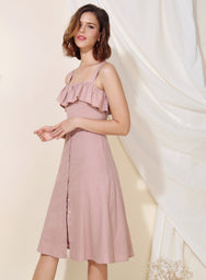Eternal Ruffle Tier Midi Dress (Mauve) at $ 43.50 only sold at And Well Dressed Online Fashion Store Singapore