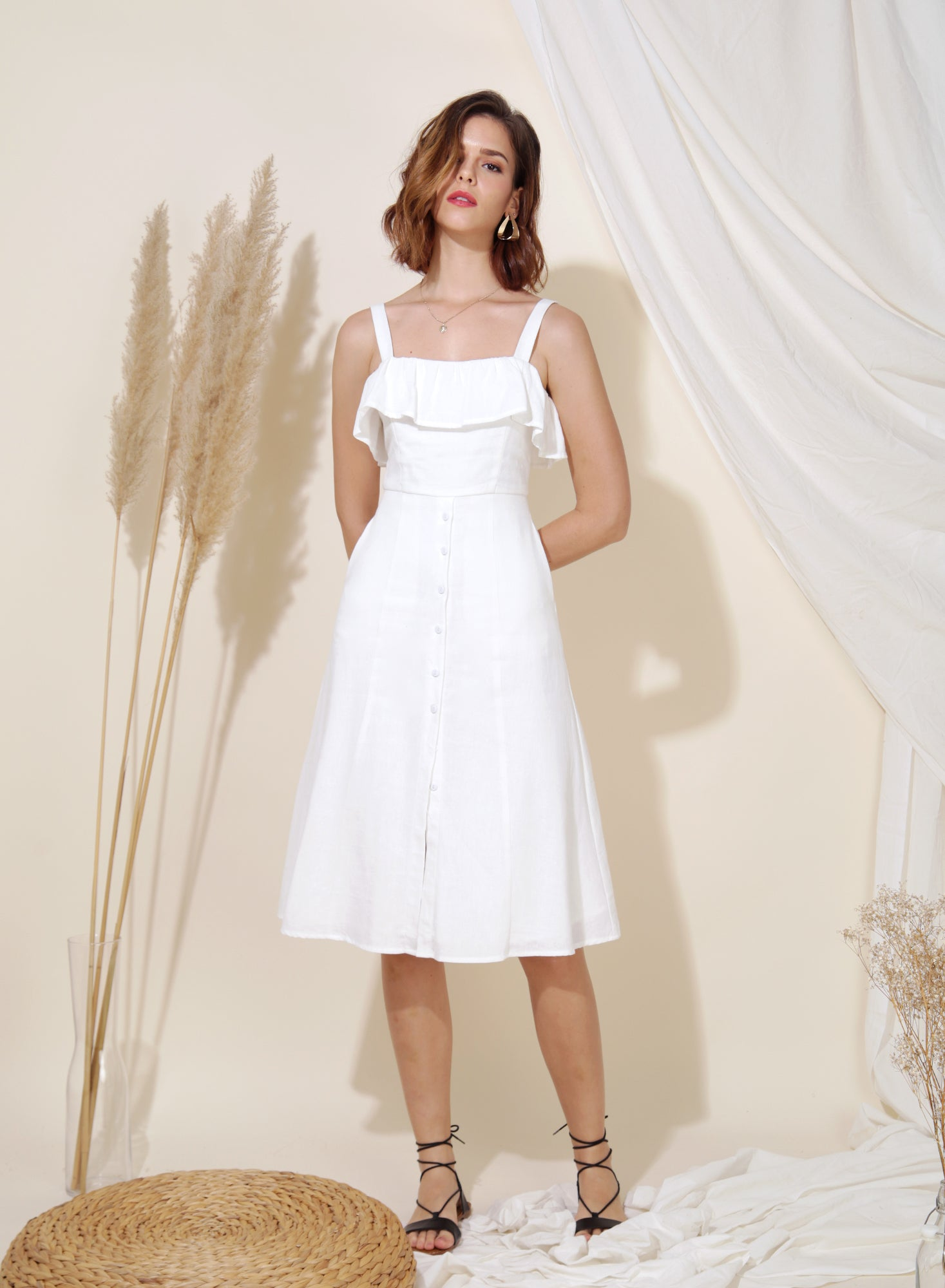 Eternal Ruffle Tier Midi Dress (White) at $ 43.50 only sold at And Well Dressed Online Fashion Store Singapore