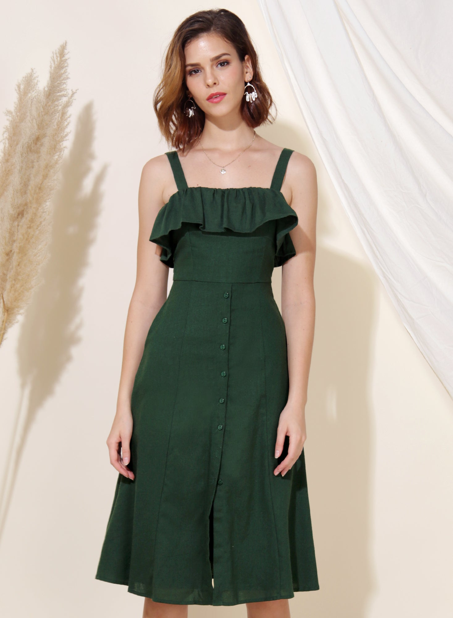 Eternal Ruffle Tier Midi Dress (Forest) at $ 43.50 only sold at And Well Dressed Online Fashion Store Singapore