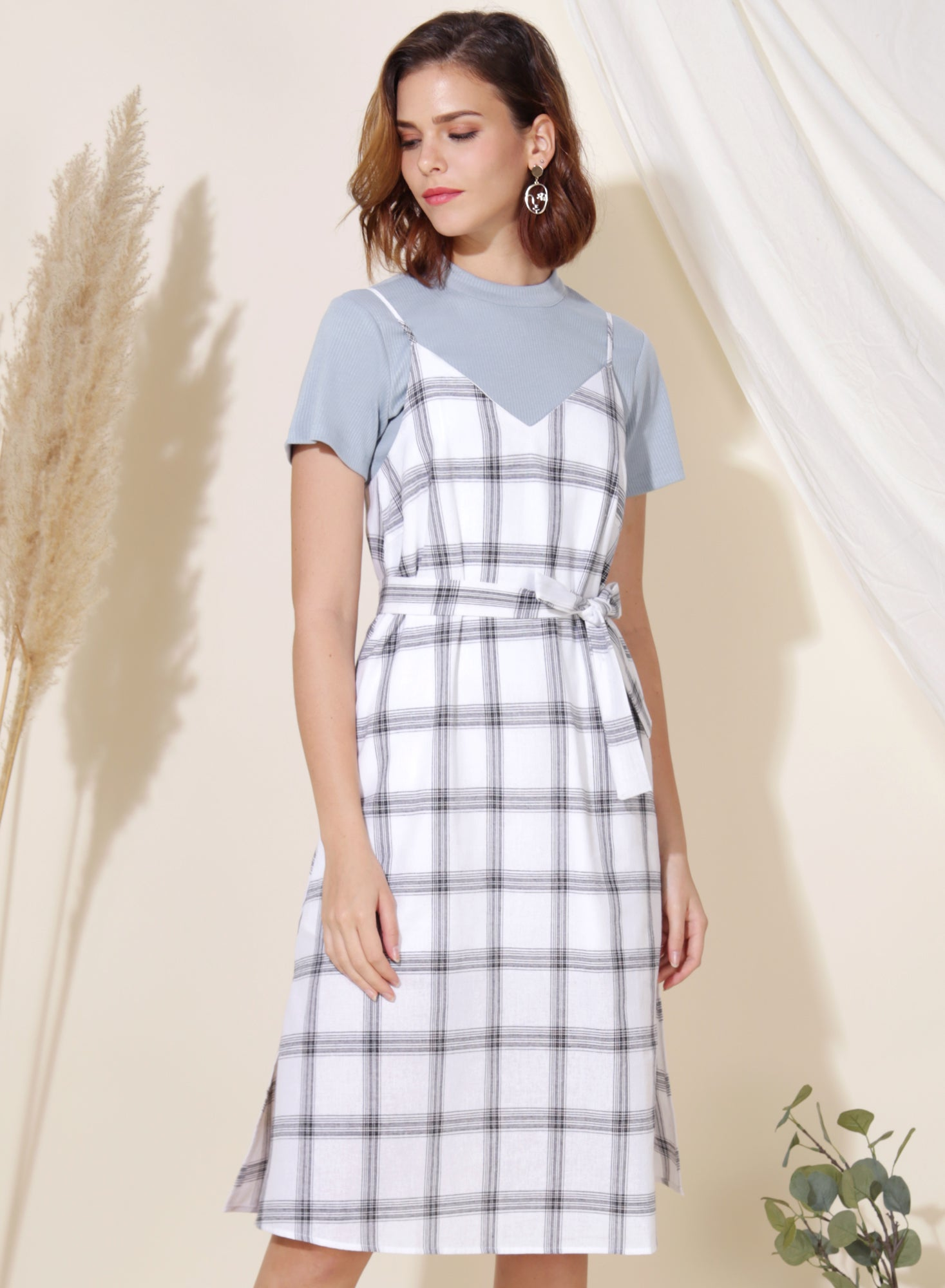 Boundless Checkered Slip Dress (White)