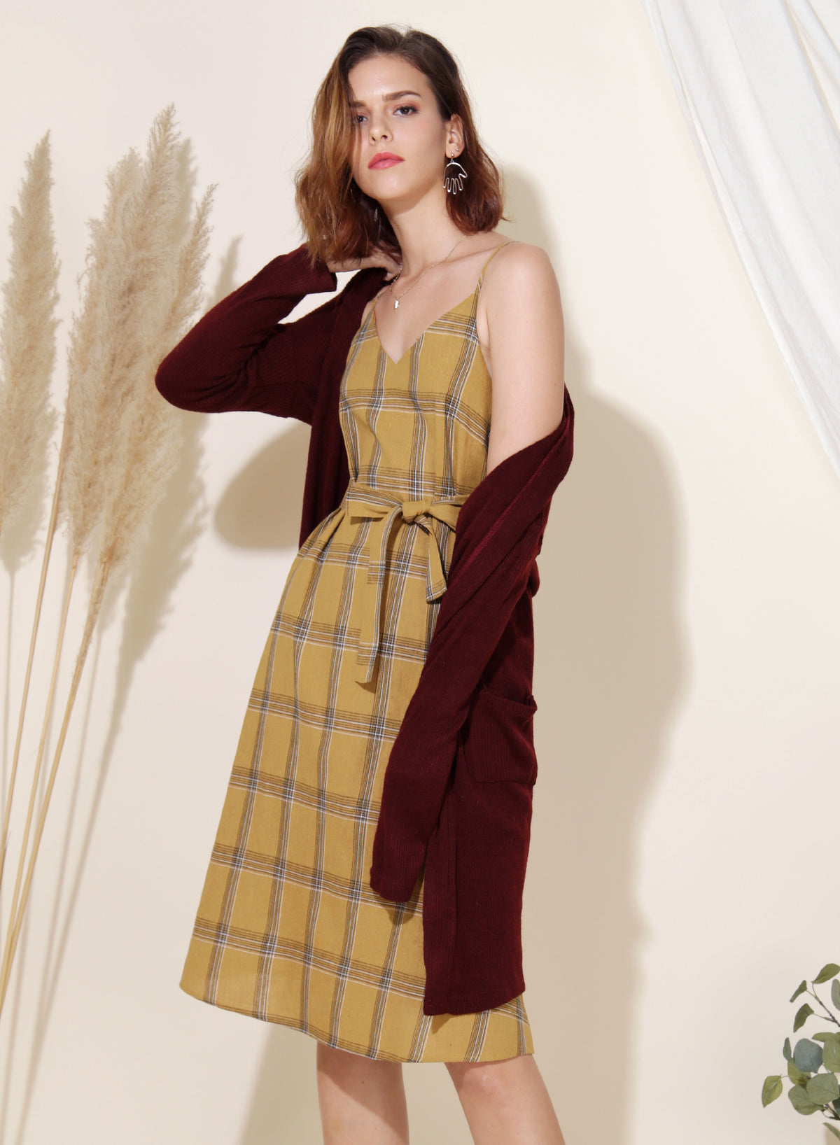 Boundless Checkered Slip Dress (Mustard) at $ 41.50 only sold at And Well Dressed Online Fashion Store Singapore