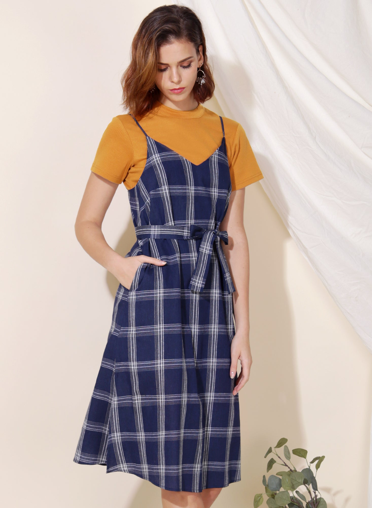 Boundless Checkered Slip Dress (Navy) at $ 41.50 only sold at And Well Dressed Online Fashion Store Singapore
