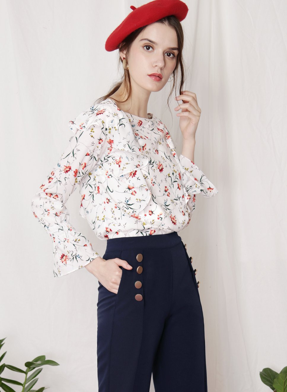 INDULGE Floral Ruffled Top (White) at $ 34.50 only sold at And Well Dressed Online Fashion Store Singapore
