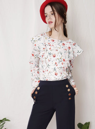 INDULGE Floral Ruffled Top (White) - And Well Dressed