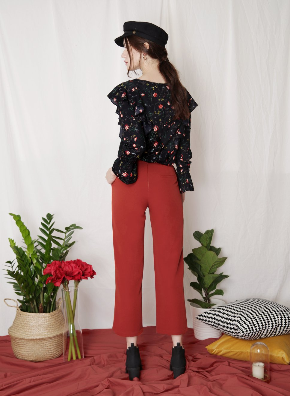 INDULGE Floral Ruffled Top (Black) at $ 34.50 only sold at And Well Dressed Online Fashion Store Singapore
