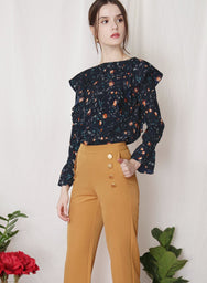 INDULGE Floral Ruffled Top (Navy) - And Well Dressed