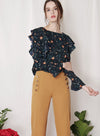 INDULGE Floral Ruffled Top (Navy) at $ 34.50 only sold at And Well Dressed Online Fashion Store Singapore