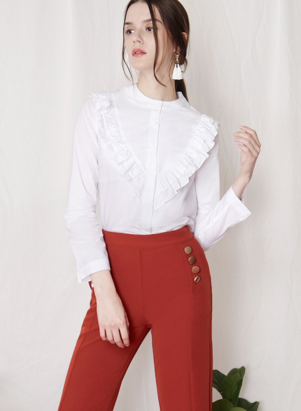 ALOFT Ruffled Button Down Shirt (White) at $ 34.50 only sold at And Well Dressed Online Fashion Store Singapore