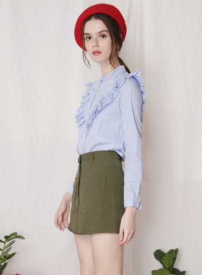 ALOFT Ruffled Button Down Shirt (Stripes) at $ 26.50 only sold at And Well Dressed Online Fashion Store Singapore