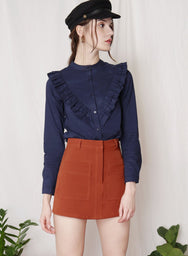 ALOFT Ruffled Button Down Shirt (Navy) at $ 26.50 only sold at And Well Dressed Online Fashion Store Singapore