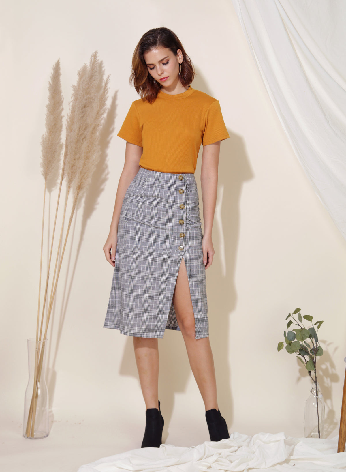 Evolve Ribbed Knit Top (Ochre) - And Well Dressed