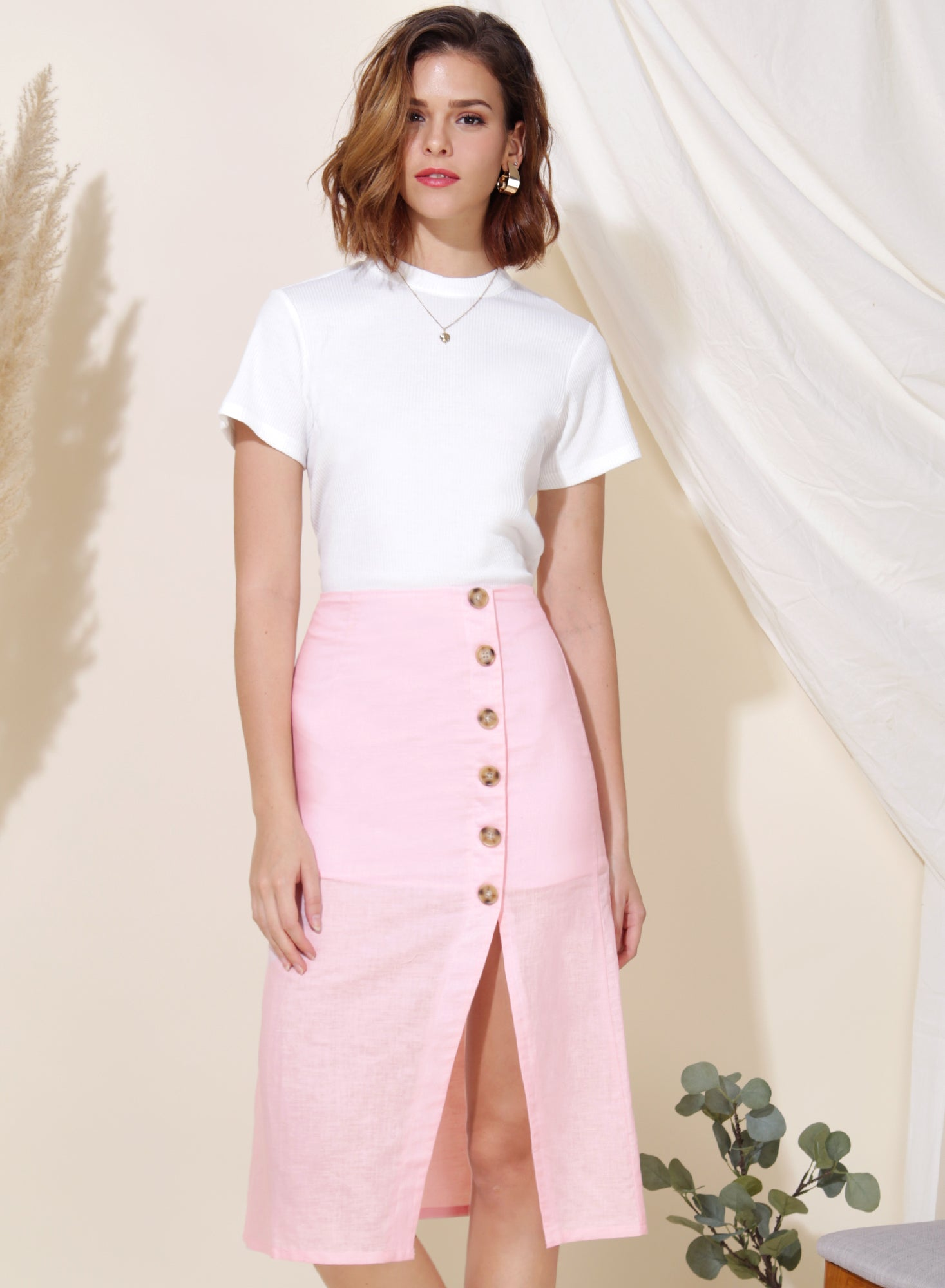 Wonder Linen Midi Skirt (Candyfloss) at $ 38.00 only sold at And Well Dressed Online Fashion Store Singapore