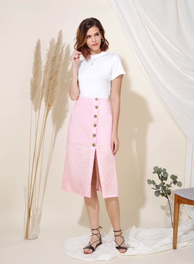 Wonder Linen Midi Skirt (Candyfloss) at $ 28.50 only sold at And Well Dressed Online Fashion Store Singapore