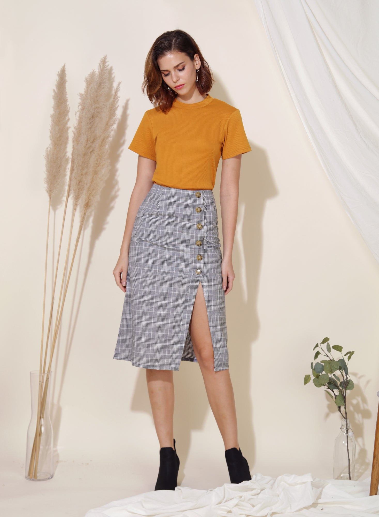 Wonder Linen Midi Skirt (Checks) at $ 38.00 only sold at And Well Dressed Online Fashion Store Singapore