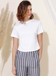 Evolve Ribbed Knit Top (White)