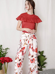 FLOURISH Floral Tie Front Pants (White) at $ 36.50 only sold at And Well Dressed Online Fashion Store Singapore