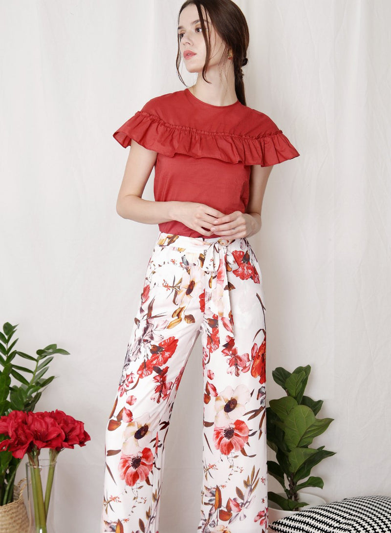 FLOURISH Floral Tie Front Pants (White) - And Well Dressed