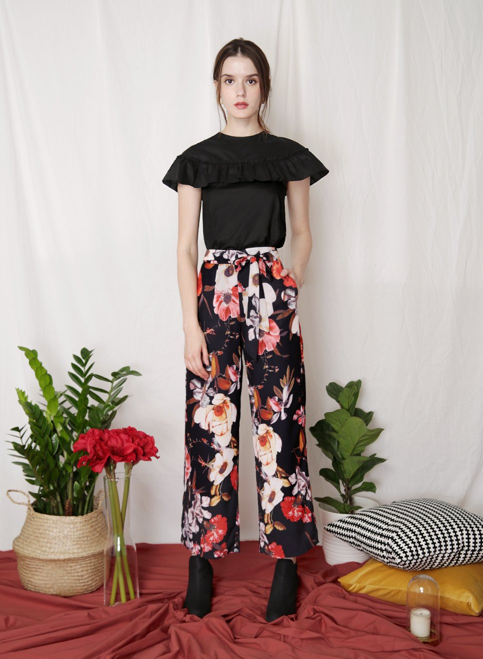 FLOURISH Floral Tie Front Pants (Black) - And Well Dressed