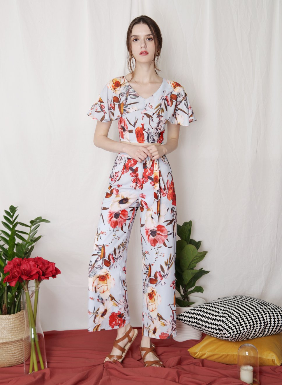 FLOURISH Floral Tie Front Pants (Sky) - And Well Dressed