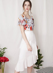 BLOOM Floral Cape Top (Sky) - And Well Dressed