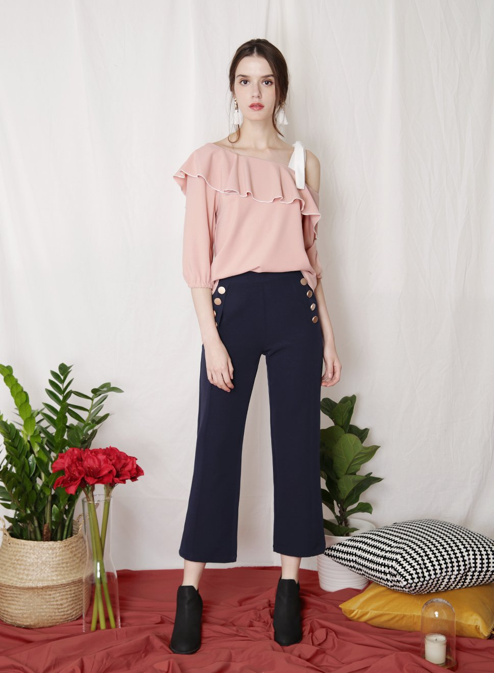 PARADE Contrast Trim Top (Blush) at $ 20.70 only sold at And Well Dressed Online Fashion Store Singapore